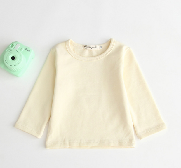 Cotton Long Sleeve Shirt in Light Yellow