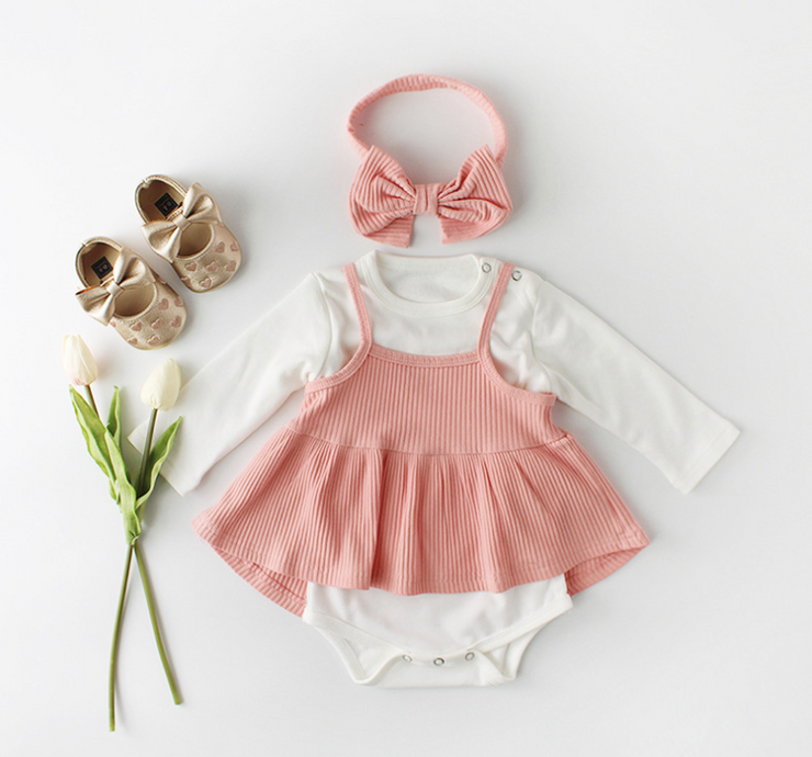 Ruffles Strap Dress Set in Pink