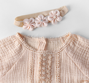 Vintage Flora Lace Bodysuit in Peach
