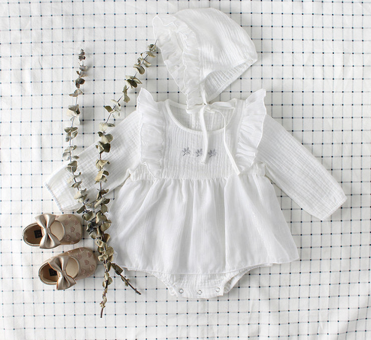 Ruffles Long Sleeve Dress Set in White