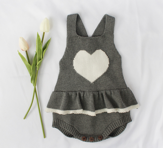 Sweet Heart Ruffles Bodysuit in Grey