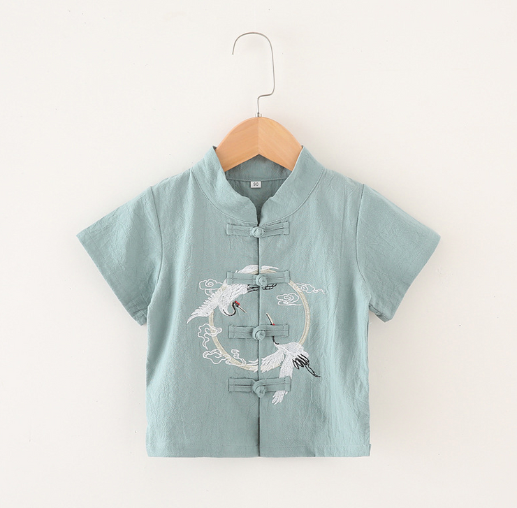 Flying Crane Embroidery Tang Suit in Light Green