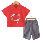 Flying Crane Embroidery Tang Suit in Red
