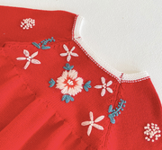 Vintage Knitted Floral Embroidered Romper