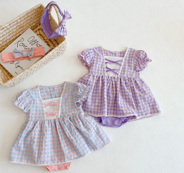 Vintage Checkered Princess Dress in Purple