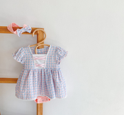 Vintage Checkered Princess Dress in Pink