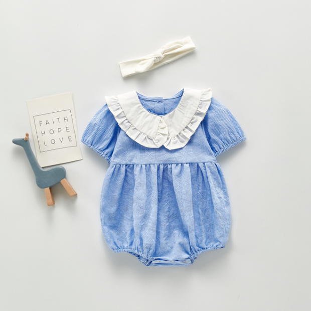 Doll Collar Checkered Romper in Blue