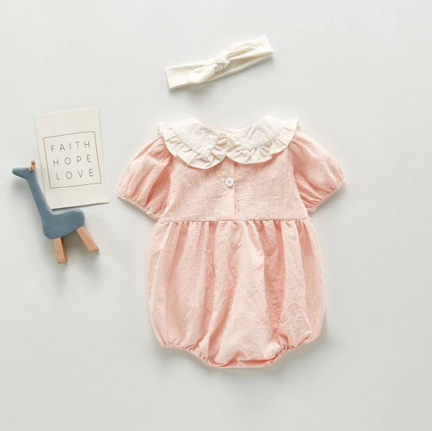 Doll Collar Checkered Romper in Pink