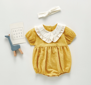 Doll Collar Checkered Romper in Yellow