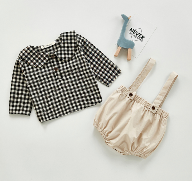Checkered Top with Dungaree Shorts