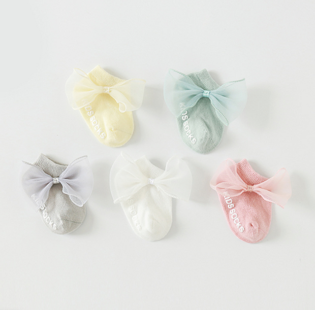 Bowknot Cotton Socks (5 pairs in 1 set)