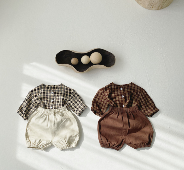 Checkered Top Two-Piece Set in Brown