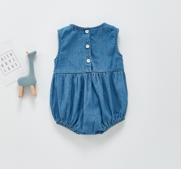 Denim Sleeveless Bodysuit in Blue