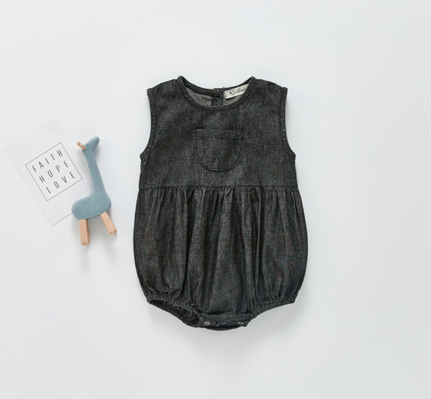 Denim Sleeveless Bodysuit in Black