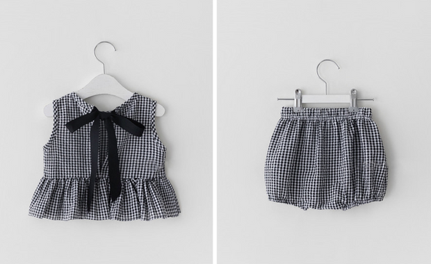 Checkered Ruffled Romper