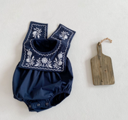 Vintage Floral Collar Bodysuit in Blue