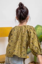 Floral Long Sleeves Top in Green (In-Stock)