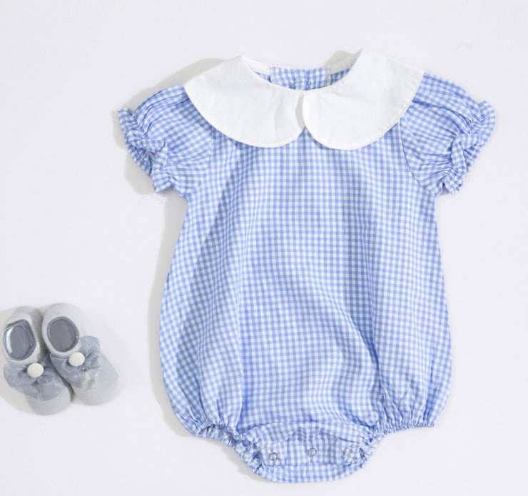 Checkered Romper in Blue