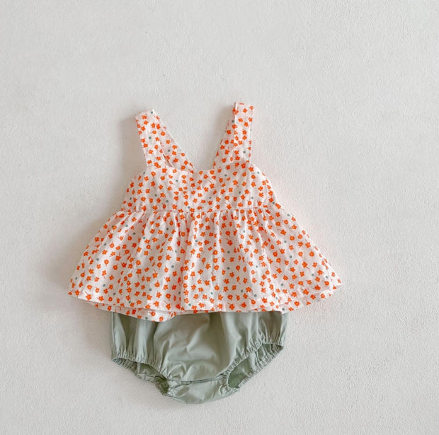 Two-Piece Floral Strap Top with Bloomer