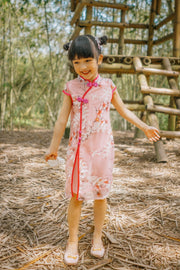 Pink Floral Embroidered Cheongsam Dress (In-Stock)