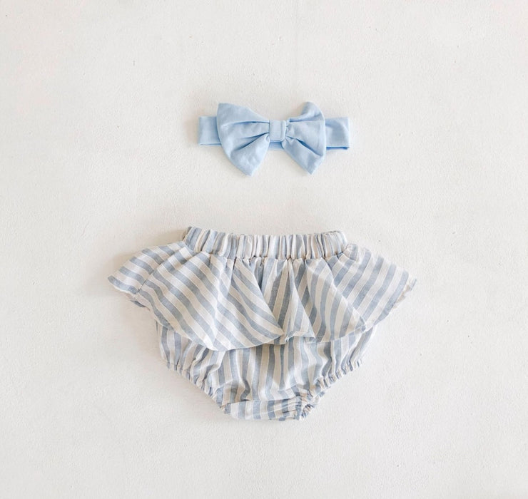 Two-Piece Ruffled Top with Bloomer in Blue