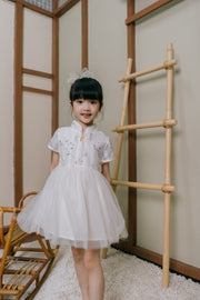 Floral Embroidery Tulle Cheongsam Dress in White (In-Stock)