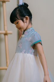 Floral Embroidery Tulle Cheongsam Dress in Blue (In-Stock)