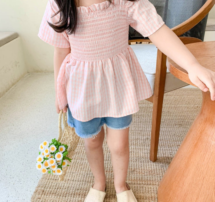 Checkered Ruffled Top in Pink