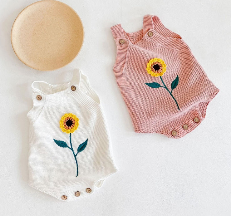 Sunflower Romper in White (In-Stock)