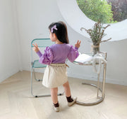 Cotton Puff Sleeves Top in Purple