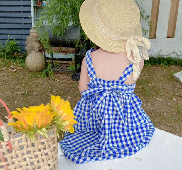 Vintage Back Ribbon Checkered Dress