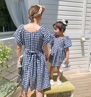 Matching Back Tie Checkered Dress
