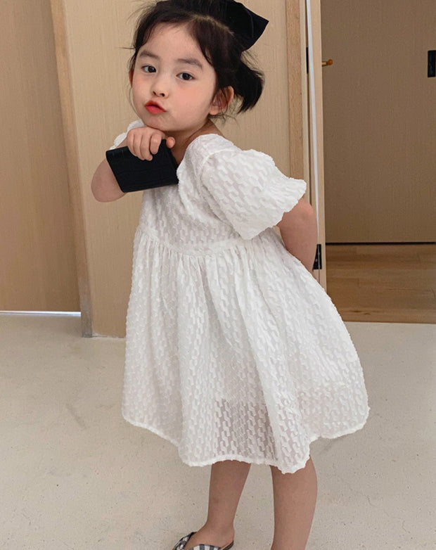 Puff Sleeves Cotton Dress in White