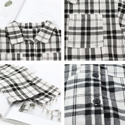 Checkered Buttoned Shirt in White