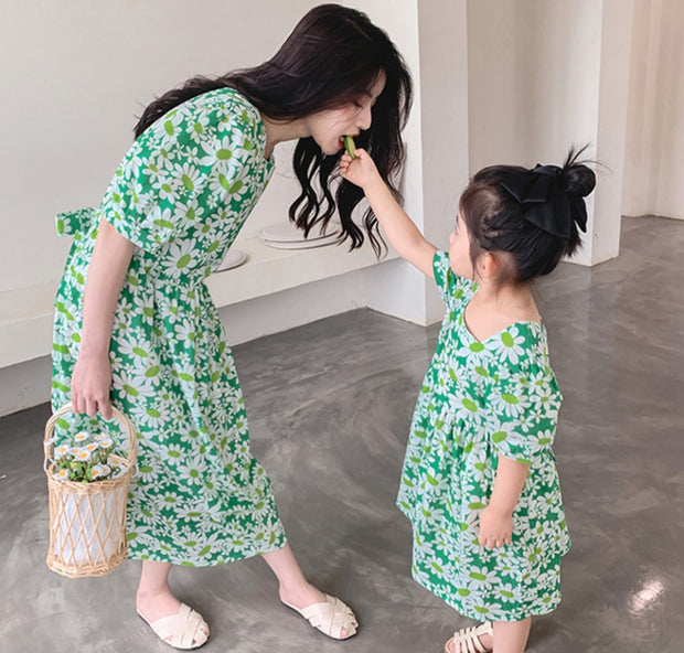 Matching Floral Dress in Green