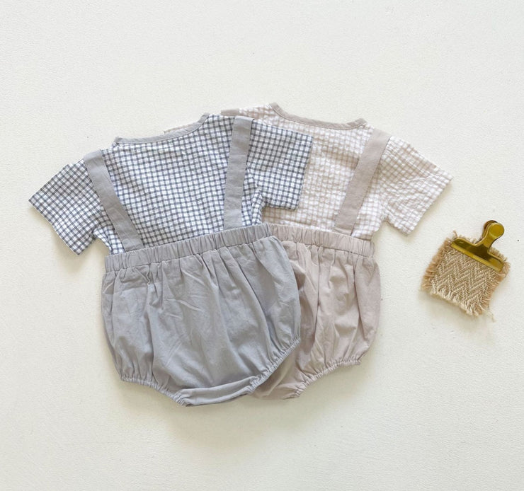 Vintage Checkered Top with Dungaree Shorts