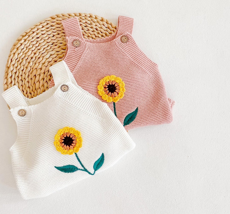 Sunflower Romper in White