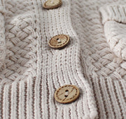 Two Pockets Knitted Cardigan in Beige