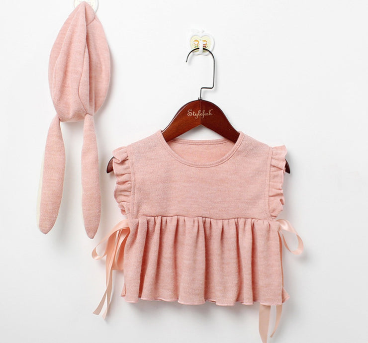 Ruffled Cotton Vest in Pink