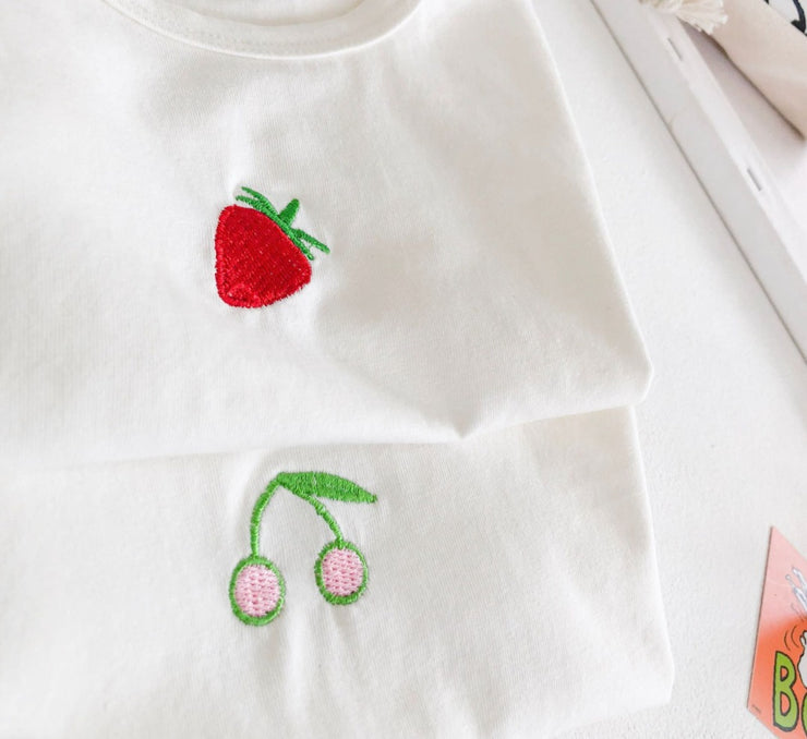Two-Piece Strawberry Top with Shorts