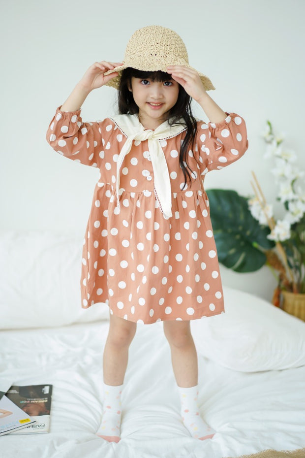 Polka Dot Tie-Scarf Dress