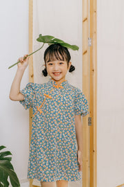 Vintage Floral Cheongsam Dress in Blue (In-Stock)