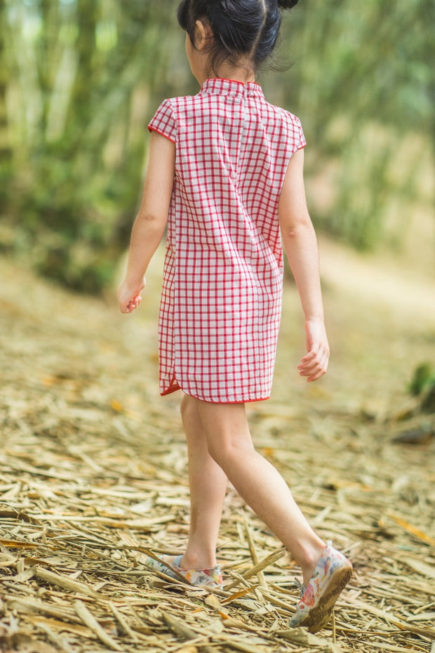 Red Checkered Cheongsam Dress (In-Stock)