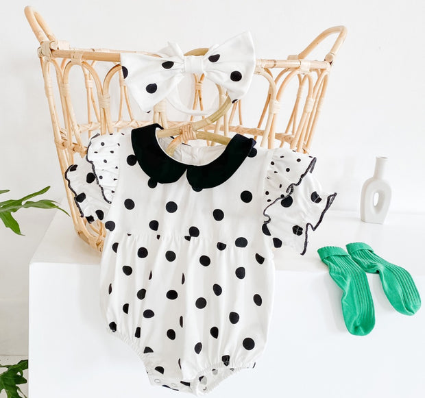 Polka Dot Ruffled Romper with Headband