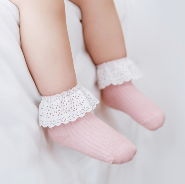 Embroidered Lace Cotton Socks (5 pairs in 1 set) (In-Stock)