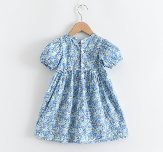 Vintage Floral Dress in Blue (In-Stock)