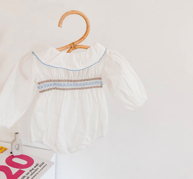 White Embroidered Romper with Hat