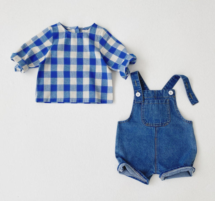 Denim Overall with Checkered Top