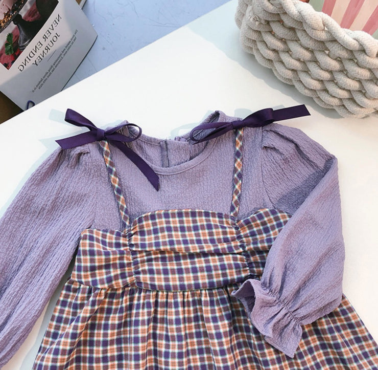 Ribbon Checkered Patchwork Dress