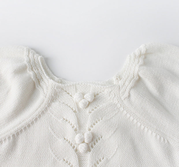 Cotton Puff Sleeves Romper in White